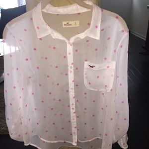 NWOT Hollister white with pink polka dot top